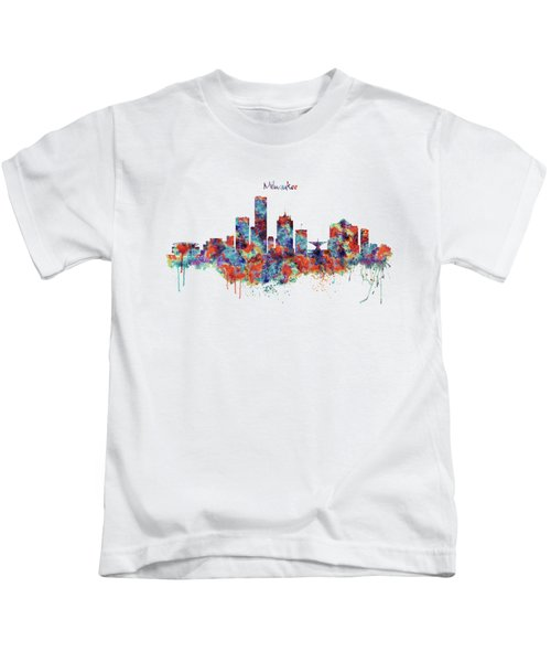 Milwaukee Watercolor Skyline Kids T-Shirt