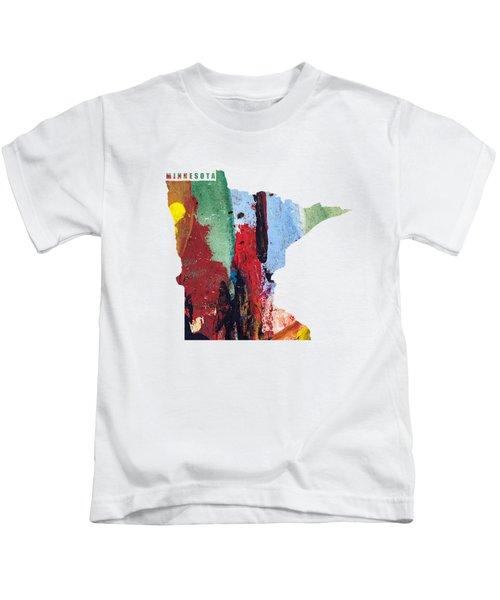 Minnesota Map Art - Painted Map Of Minnesota Kids T-Shirt