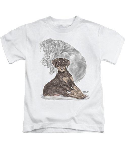 Mischief ... Moi? - Doberman Pinscher Puppy - Color Tinted Kids T-Shirt