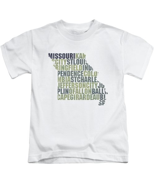 Missouri State Outline Word Map Kids T-Shirt