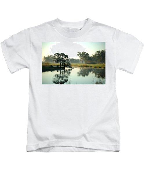 Misty Morning Pond Kids T-Shirt