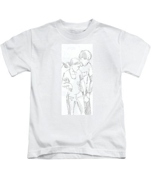 Modern Jive Ceroc Dancing Couple Pencil Drawing Kids T-Shirt