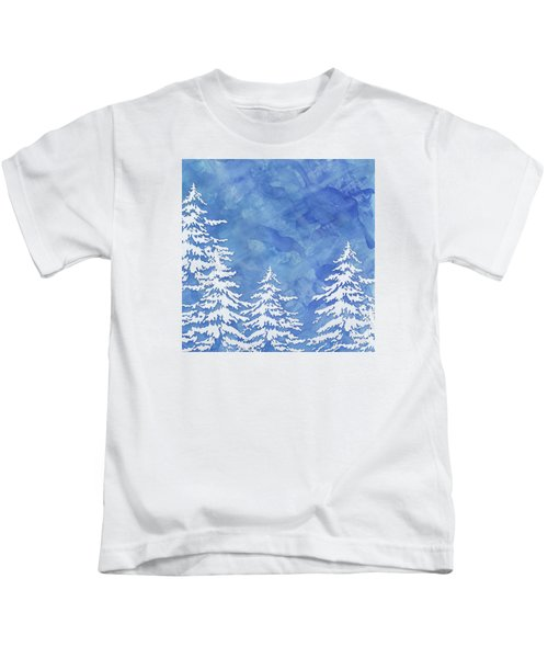 Modern Watercolor Winter Abstract - Snowy Trees Kids T-Shirt