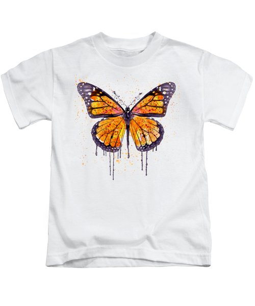 Monarch Butterfly Watercolor Kids T-Shirt by Marian Voicu