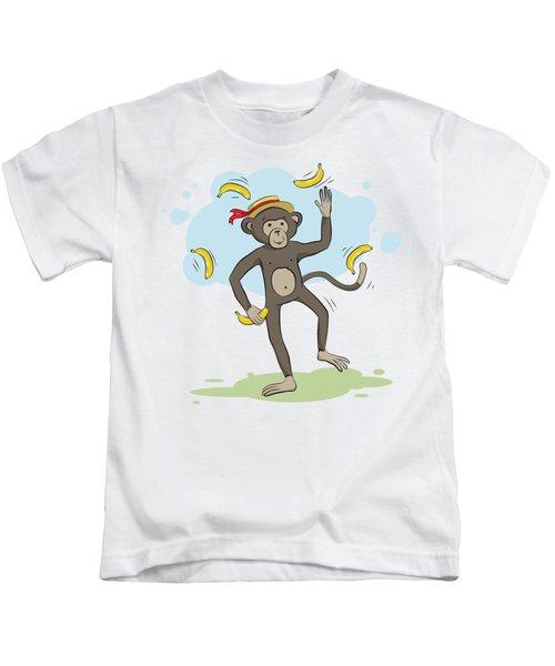 Monkey Juggling Bananas Kids T-Shirt