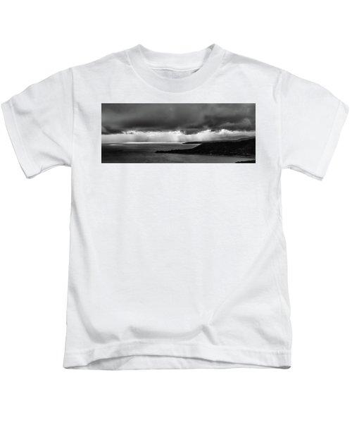 Monochrome Storm Panorama Kids T-Shirt
