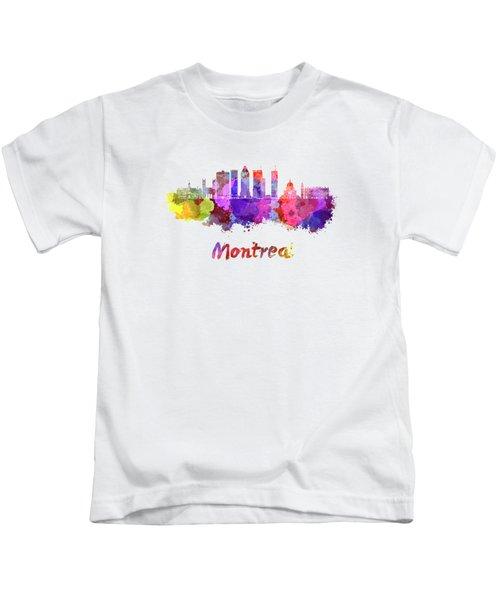 Montreal Skyline In Watercolor Splatters Kids T-Shirt
