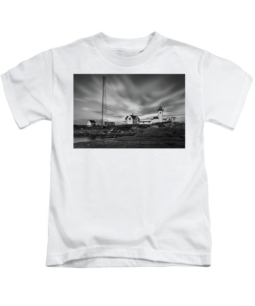 Moody Sky At Eastern Point Lighthouse Kids T-Shirt