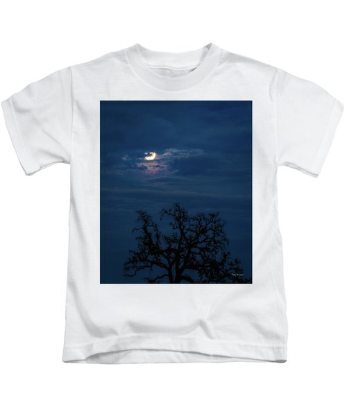 Moonlight Through A Blue Evening Sky Kids T-Shirt