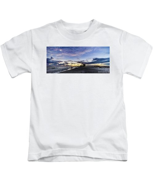 Moonlit Beach Sunset Seascape 0272b1 Kids T-Shirt