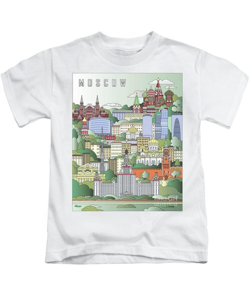 Moscow City Poster Kids T-Shirt by Pablo Romero