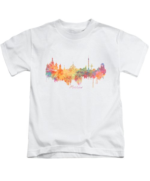 Moscow Russia Skyline City Kids T-Shirt by Justyna JBJart