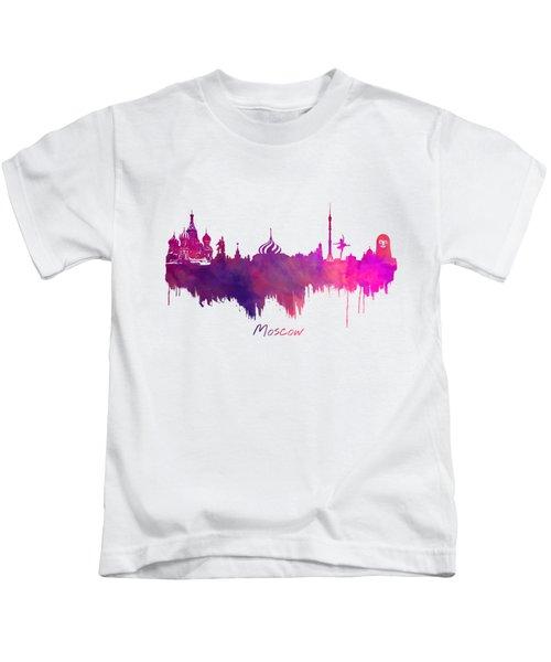 Moscow Russia Skyline Purple Kids T-Shirt