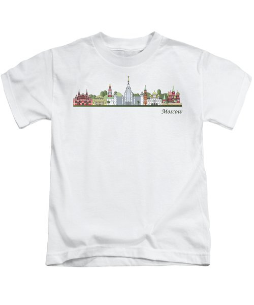 Moscow Skyline Colored Kids T-Shirt by Pablo Romero