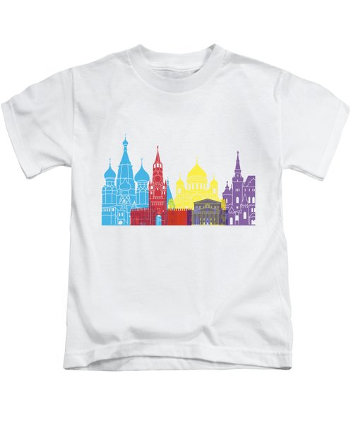 Moscow Skyline Pop Kids T-Shirt by Pablo Romero