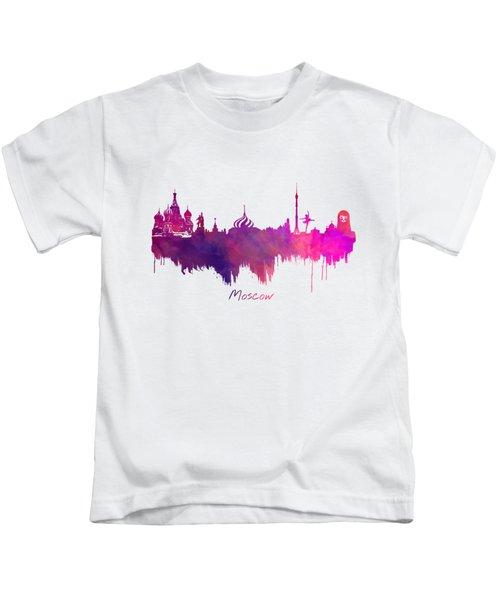 Moscow Skyline Purple Kids T-Shirt