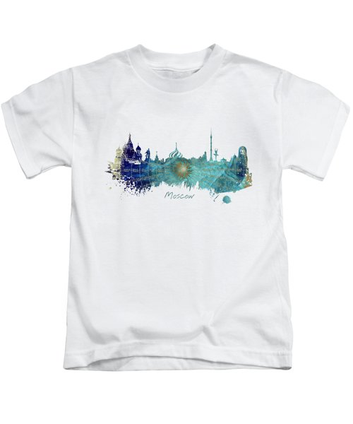 Moscow Skyline Wind Rose Kids T-Shirt by Justyna JBJart