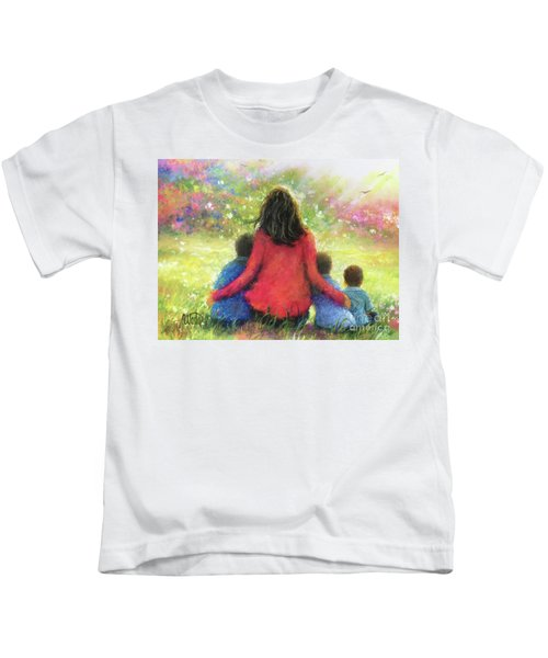 Mother And Three Sons In The Garden Kids T-Shirt