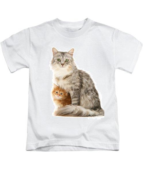 Mother Cat And Ginger Kitten Kids T-Shirt