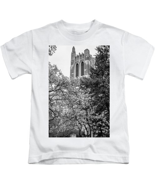 Msu Beaumont Tower Black And White 3 Kids T-Shirt