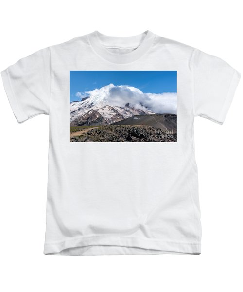 Mt Rainier In The Clouds Kids T-Shirt