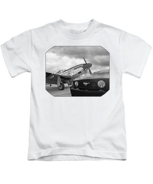 Mustang Gt With P51 Black And White Kids T-Shirt