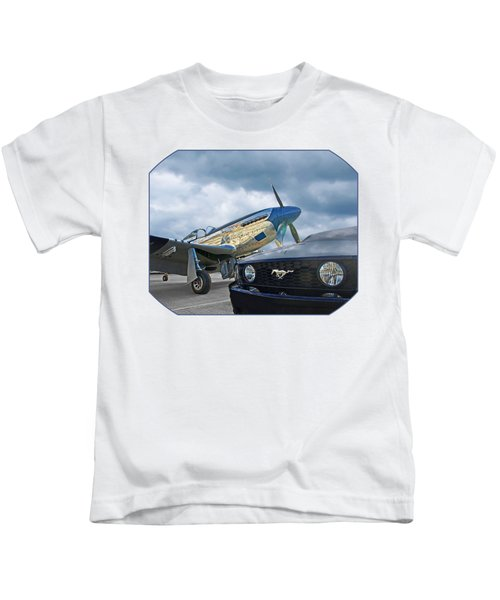 Mustang Gt With P51 Kids T-Shirt