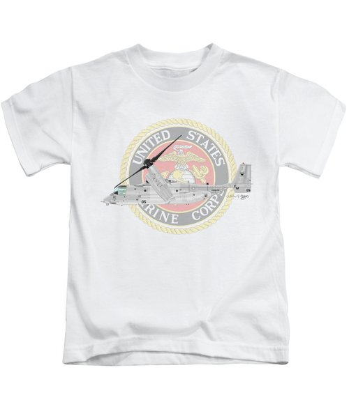 Mv-22bvmm-261 Kids T-Shirt by Arthur Eggers