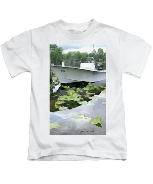 Kids T-Shirt featuring the painting My Grandson's Boat by Marian Palucci-Lonzetta