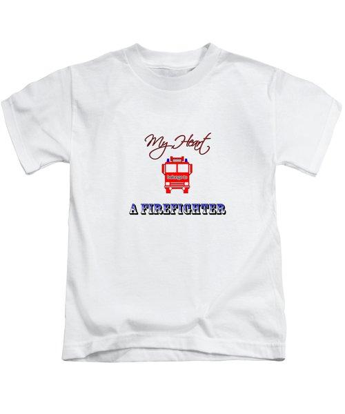 My Heart Belongs To A Firefighter Kids T-Shirt