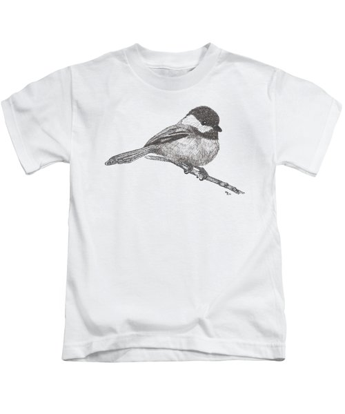 My Little Chickadee-dee-dee Kids T-Shirt by Mary-Ellen Arsenault