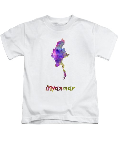 Myanmar In Watercolor Kids T-Shirt by Pablo Romero