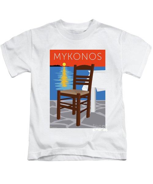 Mykonos Empty Chair - Orange Kids T-Shirt