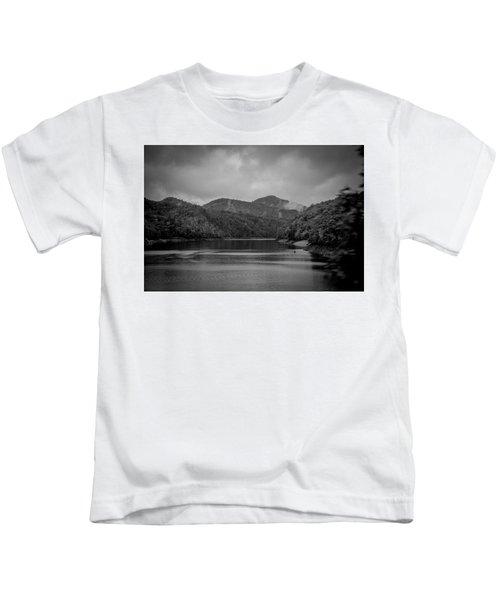 Nantahala River Great Smoky Mountains In Black And White Kids T-Shirt
