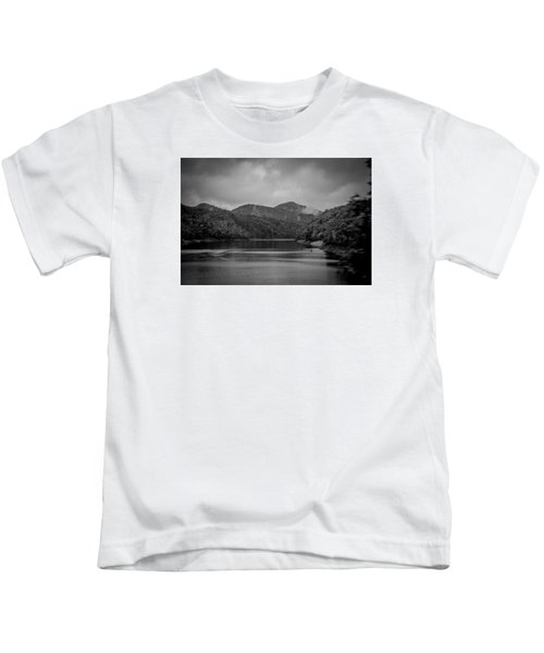 Nantahala River Great Smoky Mountains In Black And White Kids T-Shirt