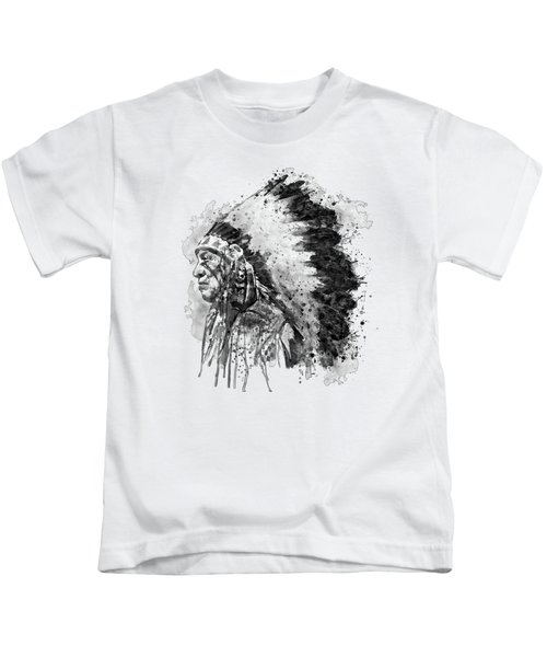 Native American Chief Side Face Black And White Kids T-Shirt