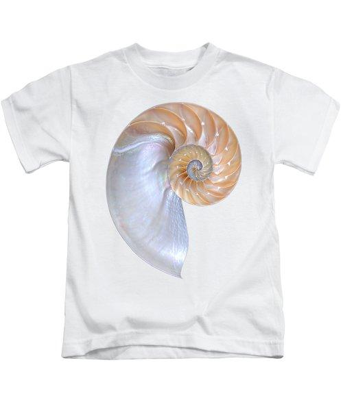 Natural Nautilus On White Vertical Kids T-Shirt