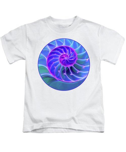 Nautilus Blue Spiral Kids T-Shirt