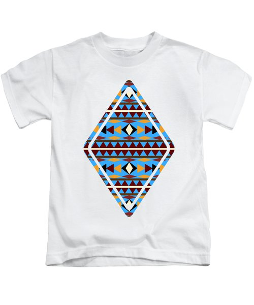 Navajo Blue Pattern Art Kids T-Shirt by Christina Rollo