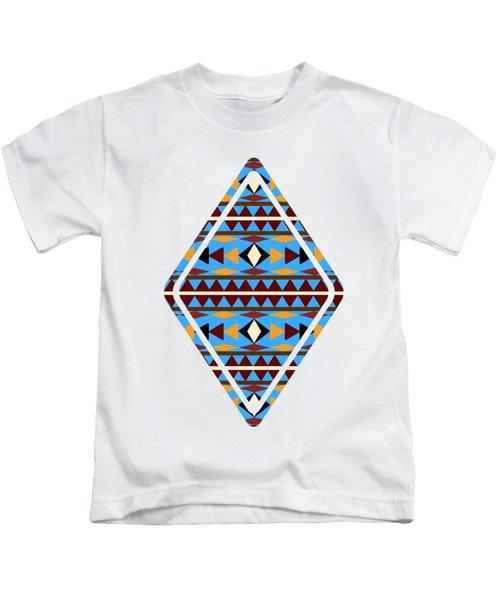 Navajo Blue Pattern Art Kids T-Shirt