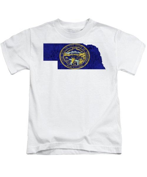 Nebraska Map Art With Flag Design Kids T-Shirt