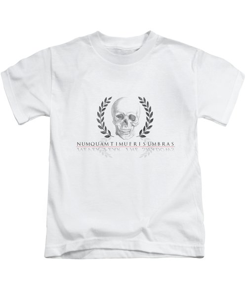 Never Fear The Shadows Stoic Skull With Laurels Kids T-Shirt