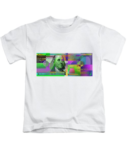 New 2009 Series Pop Art Colorized Us One Hundred Dollar Bill  No. 4 Kids T-Shirt