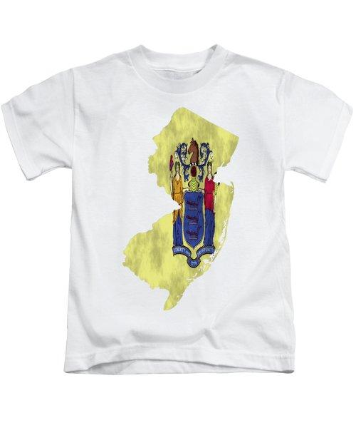 New Jersey Map Art With Flag Design Kids T-Shirt