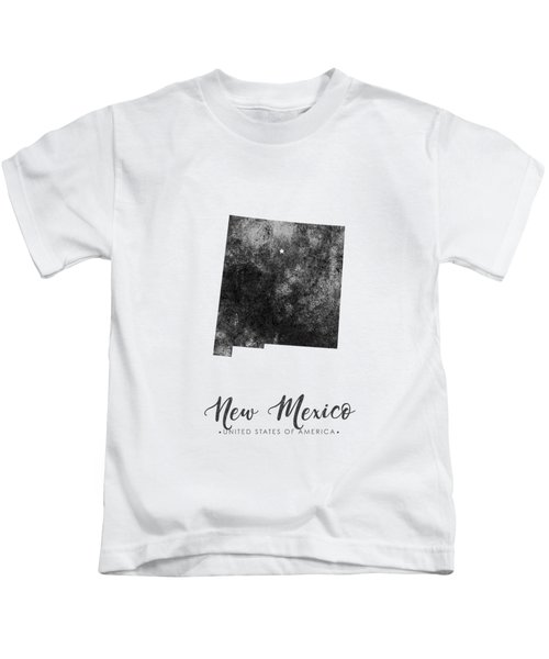 New Mexico State Map Art - Grunge Silhouette Kids T-Shirt