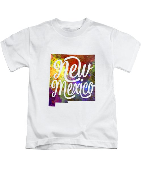 New Mexico Us State In Watercolor Text Cut Out Kids T-Shirt