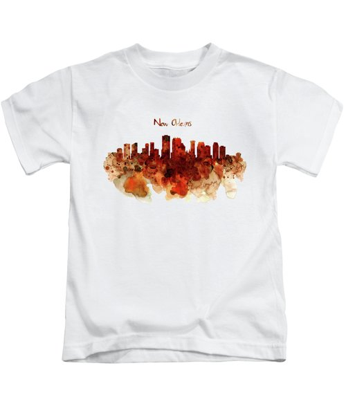 New Orleans Watercolor Skyline Kids T-Shirt by Marian Voicu