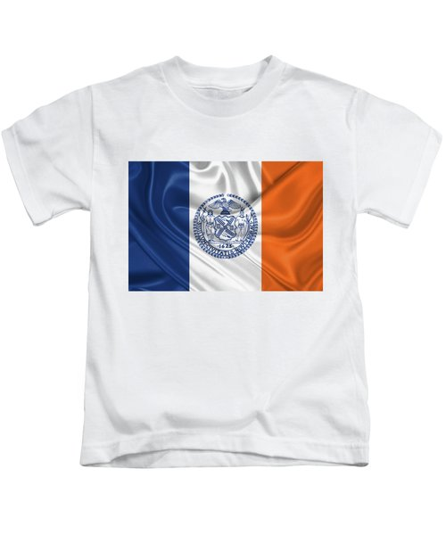 New York City - Nyc Flag Kids T-Shirt by Serge Averbukh