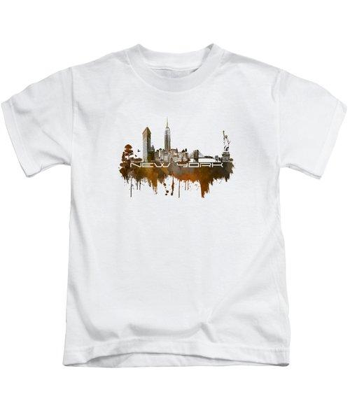 New York City Skyline Brown Kids T-Shirt by Justyna JBJart