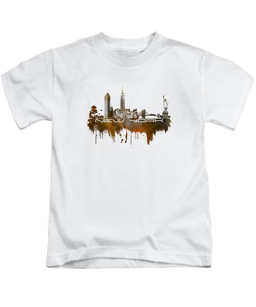 New York City Skyline Brown Kids T-Shirt